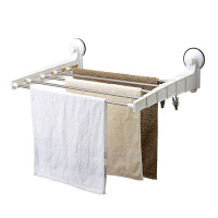 双庆吸盘毛巾架伸缩晾衣架浴室超级吸盘毛巾架挂晒架70cm 1041