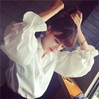 韩国学院百搭衬衫女长袖学生甜美上衣春夏韩范泡泡灯笼袖纯白衬衫 白色
