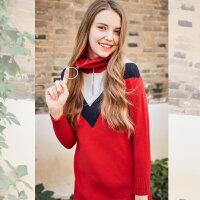 1装新款韩版学生撞色V领百搭高领中长款长袖针织衫连衣裙女