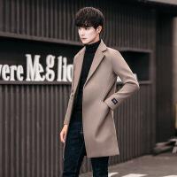 风衣男中长款韩版修身秋季毛呢大衣男士呢子外套休闲披风潮流男装