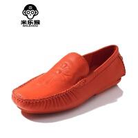 米乐猴 潮牌夏季韩版英伦透气克罗心豆豆鞋男鞋子懒人鞋男士休闲皮鞋潮鞋男鞋