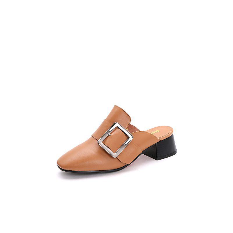 Belle/百丽2017夏时尚穆勒鞋牛皮女凉鞋31801BH7