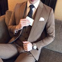 新品18秋冬装男士潮流加厚面料西服套装韩版修身免烫青年结婚三件