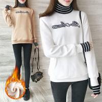 微胖高领卫衣女加厚加绒冬2018新款韩版宽松学生上衣保暖外套潮