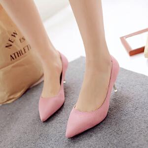 【包邮】2016女鞋性感高跟鞋春欧美新款潮时尚欧洲站细跟尖头浅口绒面单鞋128-2ZZM支持