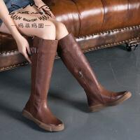 【下单只需要398元】玛菲玛图冬季新款女靴子复古高跟长靴欧美英伦骑士靴厚底高筒靴女009-30