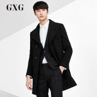 【21-22一件到手价:247.8】GXG毛呢大衣男装 冬季男士青年都市休闲都市修身时尚黑色大衣潮