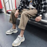 男士裤子夏季新款2018休闲裤男港风休闲宽松直筒裤学生百搭九分裤