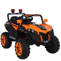 儿童电动车四轮越野汽车遥控可坐人宝宝车子1-3岁4-5小孩车玩具车 橙色+12V7A电瓶+四驱 皮座椅