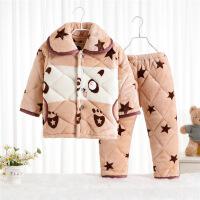 冬季加厚�A棉����保暖法�m�q�和�睡衣小孩家居服男女童珊瑚�q套�b