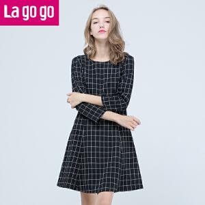 Lagogo拉谷谷2016秋季新款格子印花九分袖圆领连衣裙