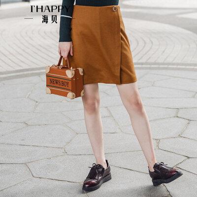ihappy/海贝2017冬季新款女装 百搭显瘦复古毛呢A字半身裙短裙