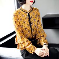 安妮纯 欧洲站雪纺衬衫女2018春夏新款上衣打底衫碎花重磅飘带长袖衬衣