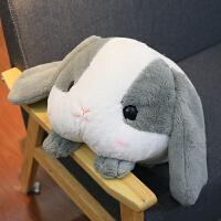 长耳小兔子毛绒玩具垂耳兔公仔抱枕被子两用毯布娃娃可爱趴趴兔子