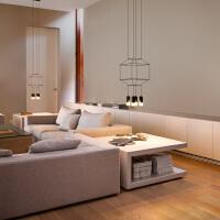 蓝调后现代简约创意个性客厅餐厅卧室楼梯灯具几何长线条吊灯