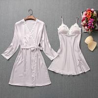 性感睡衣女士带胸垫春夏季蕾丝薄款真丝绸吊带两件套冰丝睡袍睡裙