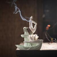 中式禅意陶瓷佛手莲花摆件家居客厅电视玄关装饰茶道创意倒流香炉