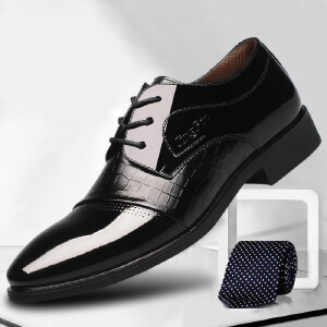 2018春季新款时尚流行男士商务正装男鞋系带尖头鞋子男低帮潮流皮鞋男内增高521ZL-1