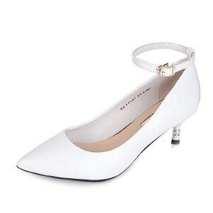 Tata/他她2017秋牛皮简约一字带珍珠细跟浅口女鞋2V3A5CQ7