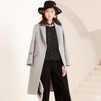 冬装新品 西装领长袖毛呢大衣长款羊毛外套女S640313D00