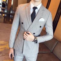 新品18秋冬装男士韩版修身双排扣西服三件套装潮流青年西装裤子马