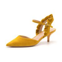 【秒杀价:169元】星期六(ST&SAT)春季绒面羊皮革尖头中跟一字带单鞋女SS91114245