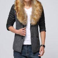 冬季新款毛领短款风衣男大码韩版修身休闲拼接外套潮