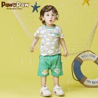 【3件4折 到手价:159】Pawinpaw卡通小熊童装夏款男女宝宝上下套装婴幼儿2件套可爱
