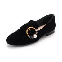 迪芙斯(D:FUSE)女鞋 秋季羊皮革水钻皮带扣方跟休闲单鞋 DF83112678