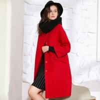 冬装新品 宽松长款双面呢大衣羊毛外套送围脖S640145D00