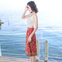 2018040222621夏季新品女装系带两件套装连衣裙波西米亚海边度假沙滩裙中裙 图片色X574
