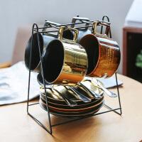 陶瓷咖啡杯4杯套装带碟勺架 欧式茶具茶水杯子马克杯套组