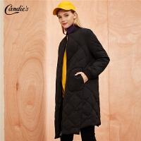 【开门红 2件2.5折到手价:210】羽绒服女拉夏贝尔冬季新款韩版H型小个子轻薄中长款羽绒外套