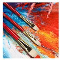 英国温莎牛顿猪鬃扇形油画笔 红色短杆长杆水彩水粉丙烯颜料画笔