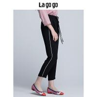 【5折价108】Lagogo2018夏季新款女装黑色小脚卷边长裤女松紧腰抽绳休闲裤子HAKK434F59
