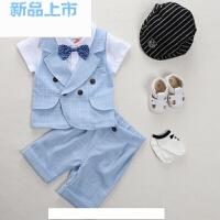 0-1岁3男婴儿夏装男童周岁礼服衣服宝宝短袖夏季套装两件套潮