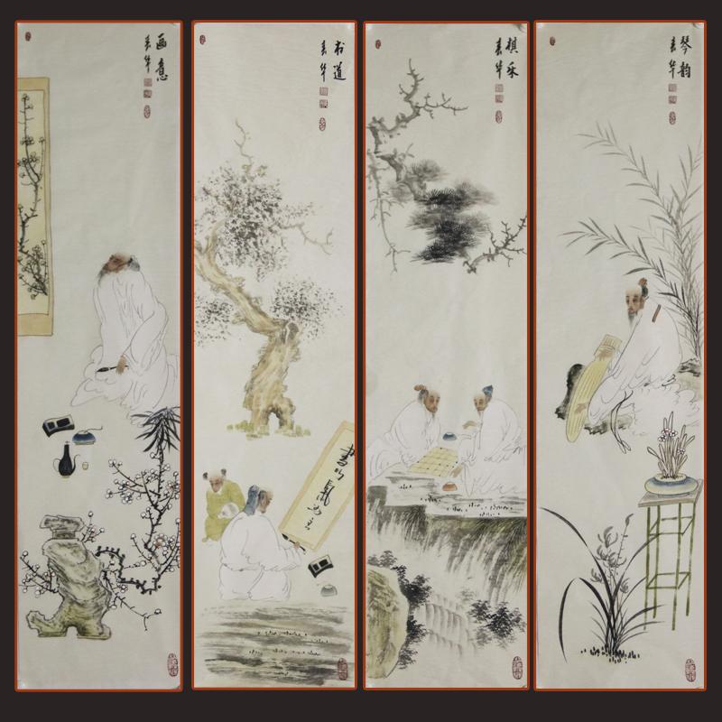 四条屏《琴棋书画》张一娜,一级美术师【R真迹1563】