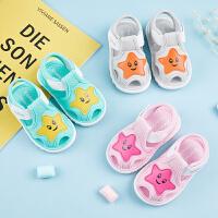 婴儿叫叫鞋男童夏天宝宝布凉鞋女学步凉鞋