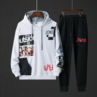 青少年卫衣套装男韩潮流秋季新款假两件学生嘻哈帅气衣服一套潮牌TZ152-3