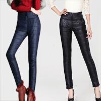 胖mm羽绒棉裤女外穿加厚大码高腰裤冬季双面保暖显瘦长裤子