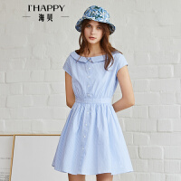 海贝2018夏季新款女装 圆领条纹单排扣小清新短袖连衣裙