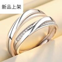 S925纯银情侣戒指一对 爱的约定情侣对戒 男女款银戒指 简约活口学生戒指 刻字 爱的约定 情侣一对 活口大小可调