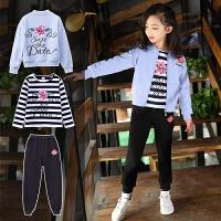 女童春装2018新款三件套女孩时尚韩版潮衣服儿童运动套装中大童装