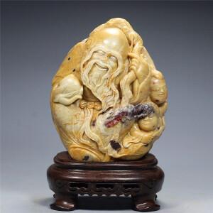 寿山焓红石摆件  福禄寿