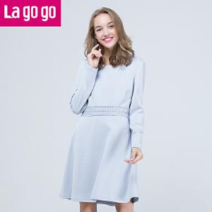 Lagogo拉谷谷2017年春季新款圆领后背V型漏洞裙子长袖纯色连衣裙