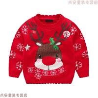 童装男童女童红色毛衣2018秋冬装圣诞新年套头针织衫中小童打底衫 红色