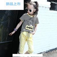 女童短袖套装夏装新款韩版条纹运动服儿童中裤套中大童夏季两件套