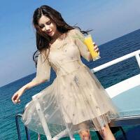 夏装新款名媛洋气烫亮片闪闪网纱短袖吊带V领连衣裙两件套