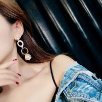 长款珍珠耳环夸张耳饰个性吊坠气质百搭耳坠潮人长款大耳钉女 放晴。几何大珍珠