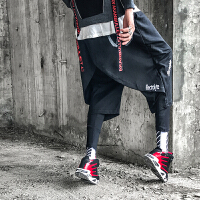 新款裙裤男士韩版宽松小脚哈伦裤男裤子个性两件套不对称印花潮流